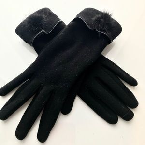 Genuine Rabbit Fur Fleece Lined Gloves